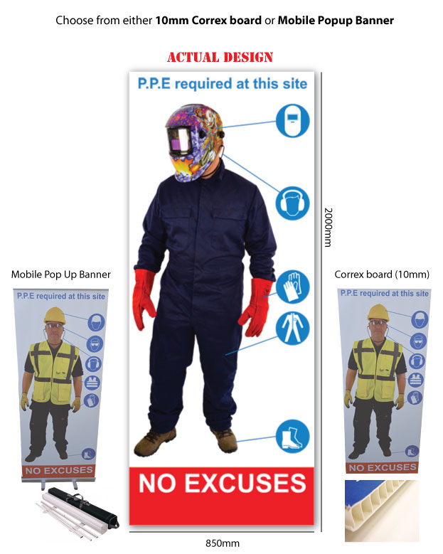 Life Size Personal Protective Equipment Signs Welding